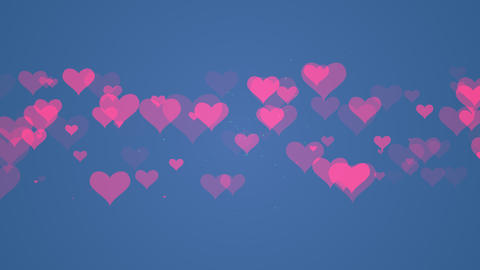 Heart particle art with blue background video Animation