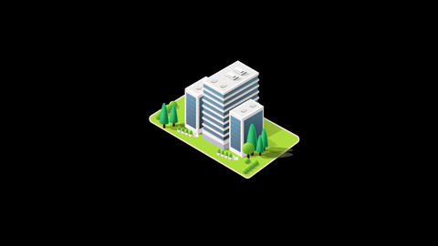 Isometric modern building with garden animation pop up with alpha channel Animation