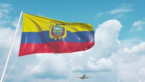 Plane arrives to airport with national flag of Ecuador. Ecuadorian tourism Live Action