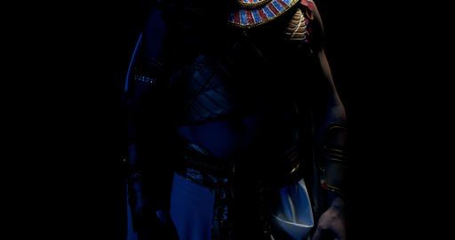 Ancient egyptian pharaoh wearing traditional clothes is breathing heavy, 4k Live Action
