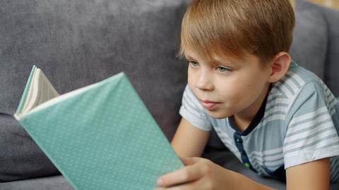Cute kid reading book relaxing on couch at home enjoying children's literature Live Action
