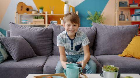 Portrait of happy boy playing videogame alone sitting on comfortable couch at Live Action