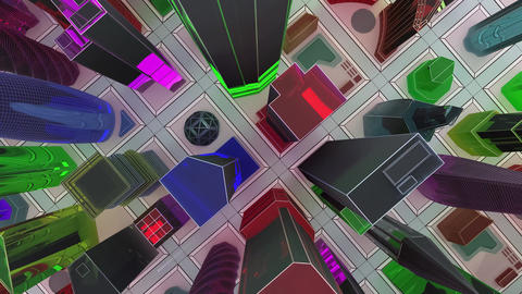 Flying over a mock-up of a glass city of skyscrapers. 3D animation for the promo video. Loop Animation