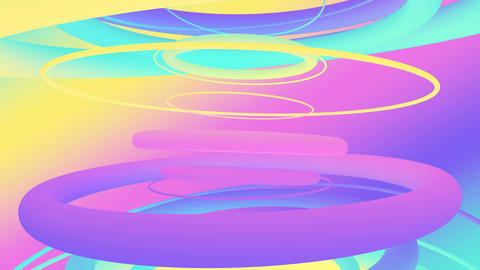 Abstract colorful 3d looping background of moving curved lines in bright rainbow colors, minimal Animation