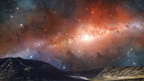 Space scene. Milky way in colorful nebula above mountain with lake and glacier. Elements furnished Animation