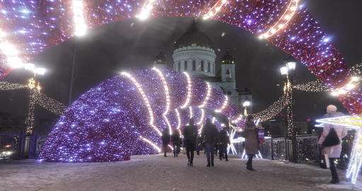 New Year's illumination near the Cathedral of Christ the Savior Live Action