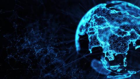 Digital globe big data social network Earth planet hologram 4k loop background Animation