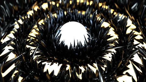 Glowing rings and glossy black peaks seamless loop 3D render animation Animation