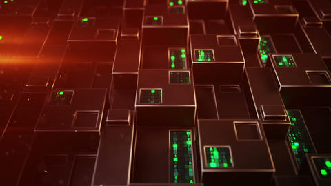 Futuristic technology red panel with digital code 3D render loopable animation Animation