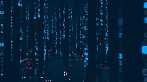 Blue digital HEX computer code in cyberspace seamless loop 3D render animation Animation