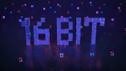 Pixelated text 16 bit with glowing edges seamless loop 3D render animation Animation