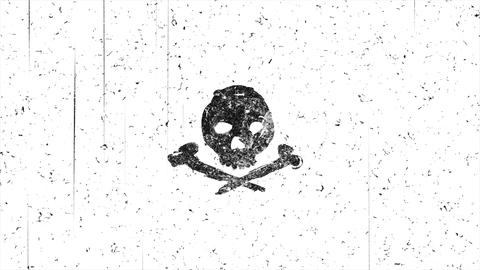 Skull shape with noise hand-drawn style animation seamless loop Animation