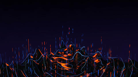 Waveform of big data flow seamless loop 3D render animation Animation