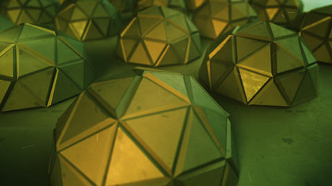 Array of futuristic green shapes loopable 3D render animation Animation