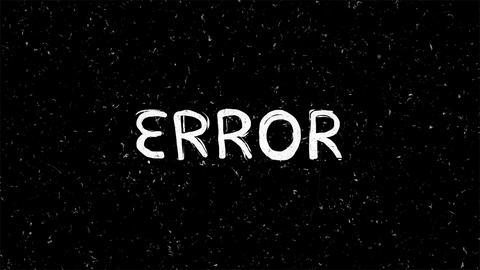 White Error text on black seamless loop animation Animation
