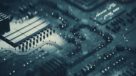 Grunge printed circuit board seamless loop 3D render animation Animation