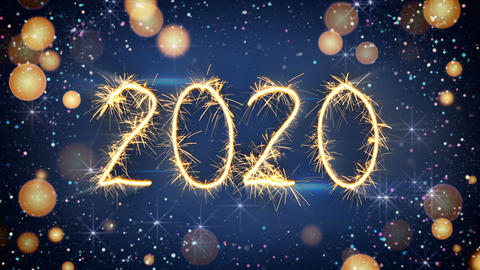 Sparkler text animation new year 2020 greeting Animation