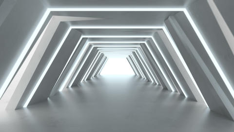 Futuristic tunnel with fluorescent lights 3D render seamless loop animation Animation