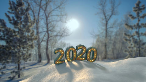 Text 2020 in forest new year congratulations seamless loop 3D render animation Live Action
