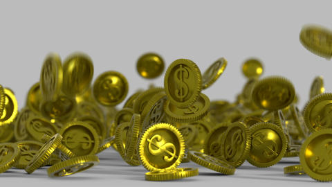 Gold coins are falling on a surface 3D render animation Animation