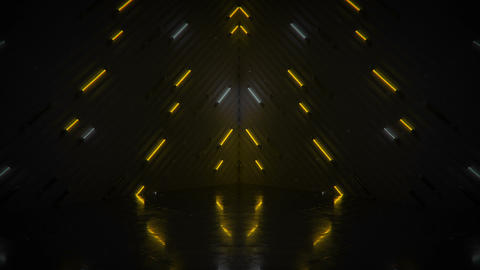 Glowing yellow neon tubes and reflective floor seamless loop 3D render animation CG動画