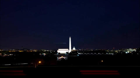 The night view of Washington. Outside darkness almost nothing is visible only Live Action