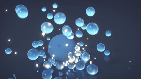 Group of blue spheres is falling 3D render animation Animation