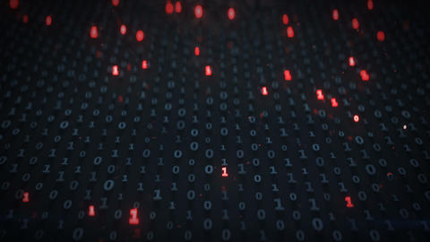 Binary code array with zeros and ones seamless loop 3D render animation Animation