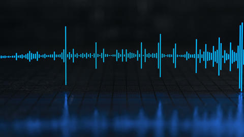 Audio waveform equalizer with reflection seamless loop 3D render animation Animation