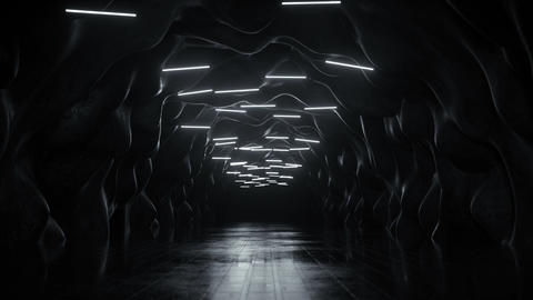 Black cave with fluorescent lighting 3D render seamless loop animation Animation