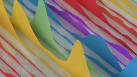 Colorful visualization of waves seamless loop 3D render animation Animation