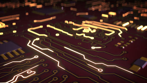 High tech electronic red circuit board seamless loop 3D render animation Animation