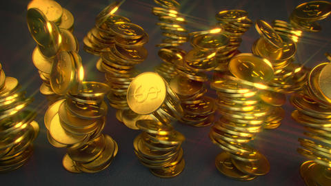 Falling stacks of glitter shiny golden coins 3D render animation Animation