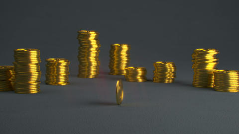 Golden coin is spinning seamless loop 3D render animation Animation