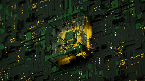 Futuristic micro chip on PCB seamless loop 3D render animation Animation