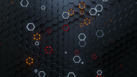 Glowing honeycomb surface seamless loop 3D render animation Stock Video Footage