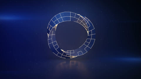 Twisted blue ring with illuminating edges seamless loop 3D render animation Animation