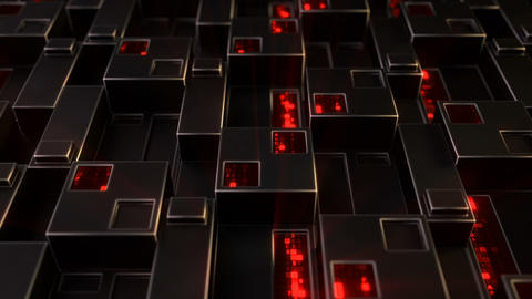 Sci-fi wall panel with red digital data 3D render seamless loop animation Animation