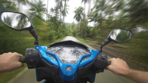 Riding Honda Click scooter in tropical Island 5 times accelerated video Live Action