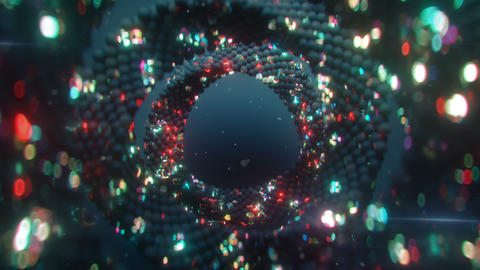 Rings of glitching spheres seamless loop 3D render animation Animation