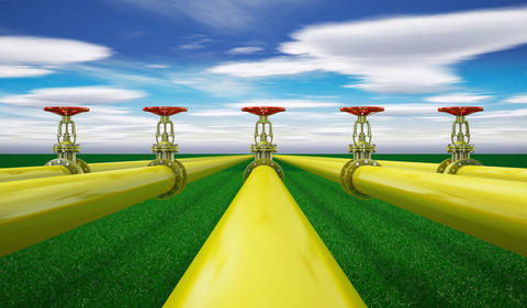 Yellow gas pipes Photo