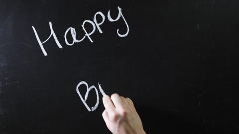 """The word """"happy birthday"""" written on a black chalkboard. The sign is written on Live Action"""