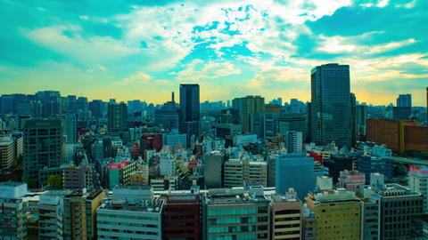 A timelapse of cityscape at the urban city in Tokyo wide shot high angle zoom Live Action
