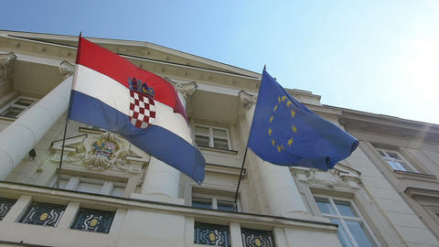 european and croatian flags Live Action