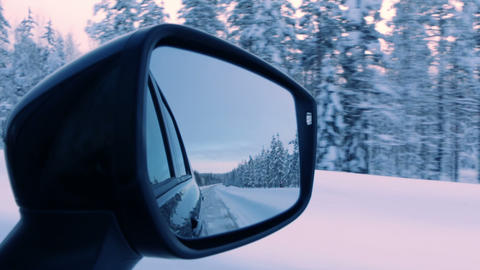 Empty Winter Road in the Rear View Mirror Footage