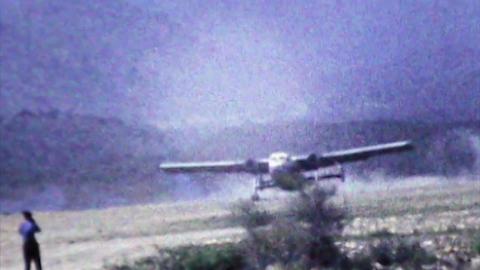 Aden British Army airplane landing remote dirt strip HD D002 Footage