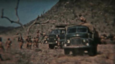 Aden Protectorate British military trucks convoy vintage film HD 0127 Footage