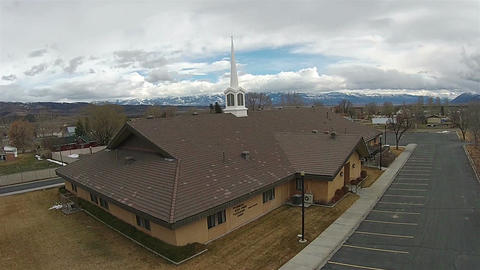 Aerial LDS Mormon Church rural town HD 010 Filmmaterial