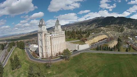 Aerial Mormon Temple Manti Utah HD 0027 ビデオ