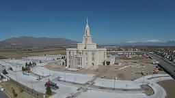 Aerial Mormon Temple under construction Payson Utah HD 0019 ビデオ